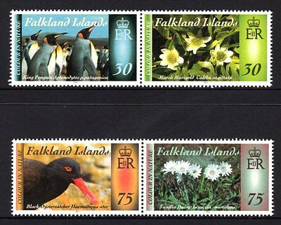 Falkland Islands 2014 Birds & Flowers Set 2 Pairs (4) MNH