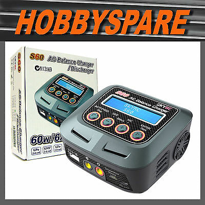 SKYRC S60 AC 60W 6A BALANCE CHARGER DISCHARGER NIMH LiPo LiHV TAMIYA DEANS