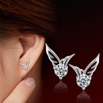 Women Girls 925 Sterling Silver Crystal Angel Wings Stud Earrings Jewelry Gifts