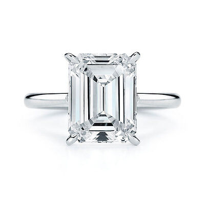 2.00Ct Emerald Cut Diamond Engagement Ring 14K White Gold Solitaire Emerald Ring