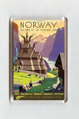 Vintage Air Travel Poster Fridge Magnet - Norway Land Of The Midnight Sun