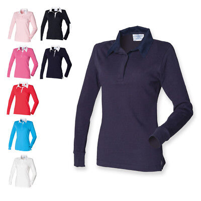 b1960f67719 Front Row Womens Ladies Long Sleeve Plain Leisure Rugby Shirt Top 9 Colours