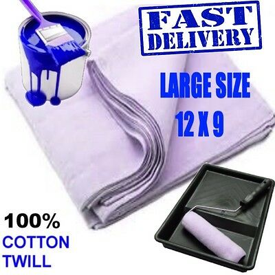HIGH QUALITY 100% COTTON TWILL LARGE (12ft x 9ft) DUST SHEET PAINTING PROTECTION