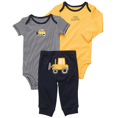 New NWT Carters Baby Boys 3 Piece Bodysuit Pant Set Clothes Yellow Truck