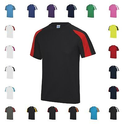 AWDis Contrast Cool  Wicking Breathable Running Training T Shirt Sport Top JC003