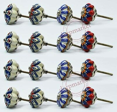 16 Pcs White,Blue&Multi Color Kitchen / dress Ceramic Knobs Cupboard drawer Pull