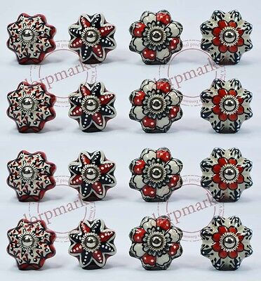 16 Pcs Red,White& Black Color Kitchen / dress Ceramic Knobs Cupboard drawer Pull