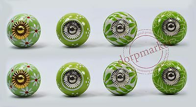 16pcs Green & White mix color Kitchen / dress Ceramic Knobs Cupboard drawer Pull