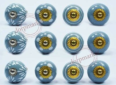 12Pcs Light Blue Color&Dotted Kitchen/ dress Ceramic Knobs Cupboard drawer Pull