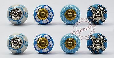 16 pcs Blue & White Multi color Kitchen/dress Ceramic Knobs Cupboard drawer Pull