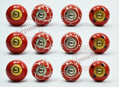 12Pcs Red Color Dotted Designe Kitchen/dress Ceramic Knobs Cupboard drawer Pull
