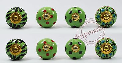 16 pieces dotted Green,Black & Multi color  Kitchen / dress Ceramic Knobs