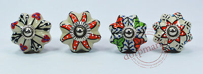 4 pcs Gray & Multi Color  Kitchen / dress Ceramic Knobs Cupboard drawer Pull