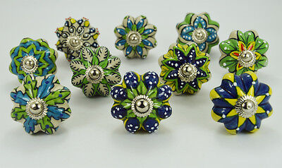 10 pcs Dotted Green Ceramic Knobs / pulls  in different design & chrome hardware