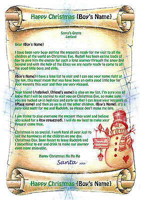 Boys Personalised Letter from Father Christmas Santa + North Pole Envelope Q1