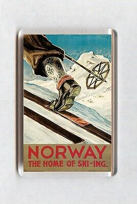 Vintage Travel Poster Fridge Magnet - Norway. The Home Of Skiing