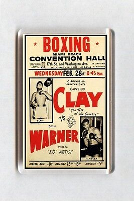Old Boxing Poster Fridge Magnet - Cassius Muhammad Ali Clay vs Don Warner