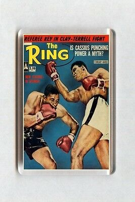 Old Boxing Poster Fridge Magnet - The Ring Magazine Cover - Cassius Clay