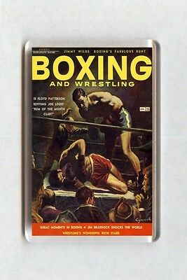 Old Boxing Poster Fridge Magnet - Boxing and Wrestling Magazine Cover