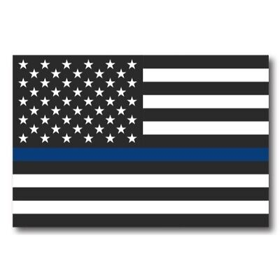 Police Officer Thin Blue Line American Flag Magnet Decal 4in x 6in- Heavy Duty