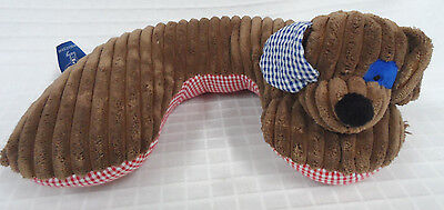 MUD PIE Baby BROWN Dog CHOCOLATE Head SUPPORT Neck PILLOW Gingham BLUE Red Clean