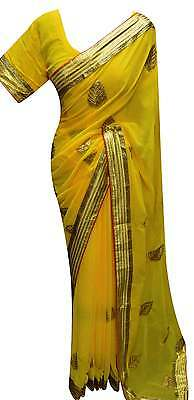 Fancy Indian latest party wear border Yellow saree for Bollywood Wembley UK 7229