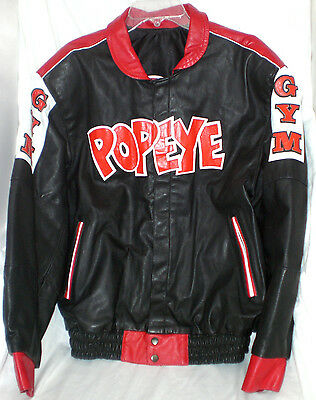 Popeye the Sailor man leather jacket by Galvis reversible restored collectible