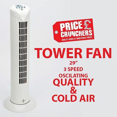 """Tower Fan Oscillating Cooling Air Fan 29"""" Free Standing 3 Speed Home Office"""