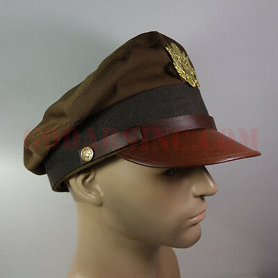 """WW2 US Army Air Force Officer's """"chocolate"""" Crusher Cap 58"""