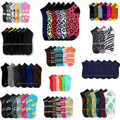 12~60pair Women Girl Spandex Ankle Low Cut Socks No Show Wholesale Lot Size 9-11