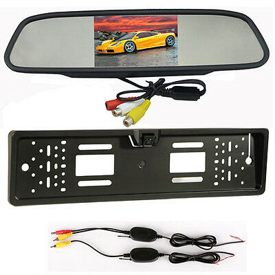 "Wireless Car Rear View Camera Kit Touch Screen 4.3"" LCD Monitor Rearview Mirror"
