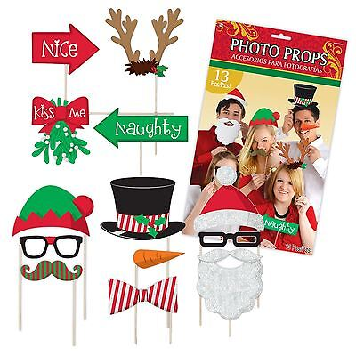 13pcs Christmas Glitter Photo Booth Props Selfie Kit Party Photographs Santa New