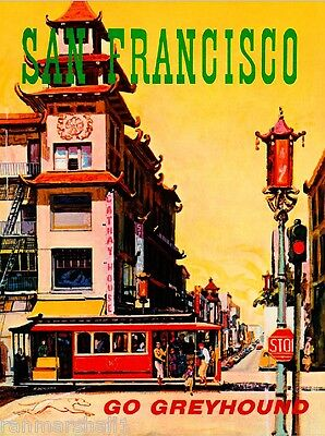 San Francisco Bus United States of America Vintage Travel Advertisement Poster