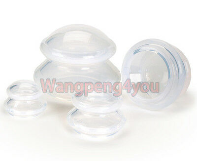 4 Cups SILICONE CUPPING JAR VACUUM THERAPY SET MASSAGE ACUPUNCTUR Suction Cups