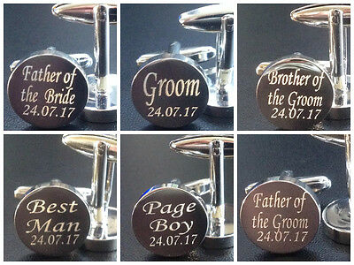 Silver DATED Cufflinks Cuff Links Personalised Gift Wedding Groom Best Man MO1A