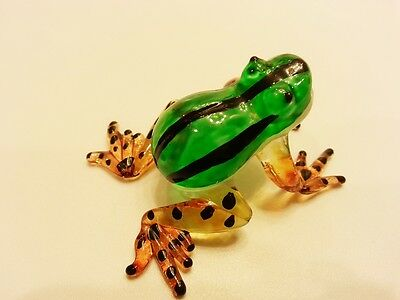 ฺFrog14 Figurine Art Animal Hand Blown Glass Miniature Collect Home Decor Gift