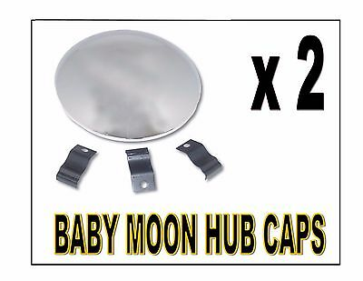 "Baby Moon Trailer Chrome Hub caps (9-1/4"") w/ 3 clips - (PAIR) SEMI-TRUCKS"