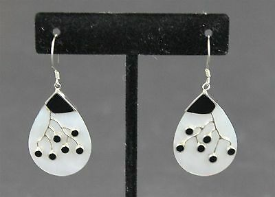 Vintage Crafted Black White Tear Abalone Shell Earrings 925 Sterling Silver