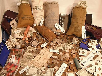 40 Pc. Estate Lot- Coins, Currency, Silver Bars, Gold, Proofs ,stamps,etc.