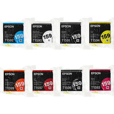 New EPSON R2000 T159 Series complete set 8pcs Printer Ink Cartridges New sealed
