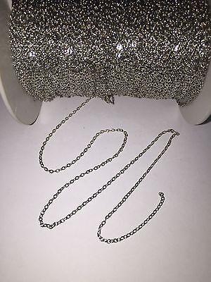 Tiny brass metal chain shiny closed soldered loops - 1.5mm x 2mm - 2 meters