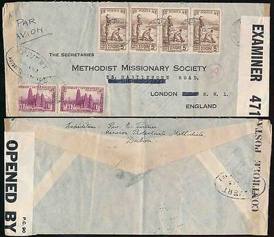 FRENCH IVORY COAST 1939 AIRMAIL to METHODIST MISSION CENSORED A1 SENEGAL + GB471