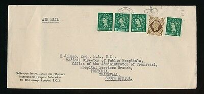 GB to SOUTH AFRICA 1953 HOSPITAL SERVICES PERFINS KEF...1/- KG6 + QE2 WILDINGS