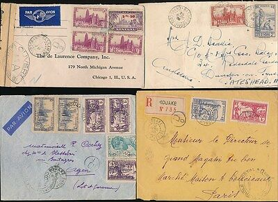 French Ivory Coast 1939-44 Multi Frankings + Censored + Airmail + Regist..4 Envs