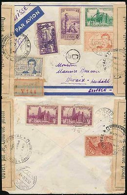 FRENCH IVORY COAST 1942 REGIST.AIRMAIL MULTI FRANKING to SWISS..TAPE + 5 CENSORS
