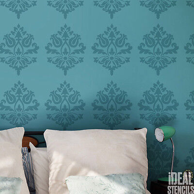 Damask Stencil pattern Home wall Décor Paint Wallpaper Effect Ideal Stencils