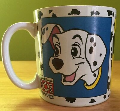 90's Disney's 101 DALMATIANS coffee mug featuring 3 of the 99 pupppies