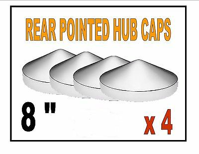 "Chrome Rear Pointed Hub Cap (8"") for Semi Truck Applications (4 each)"