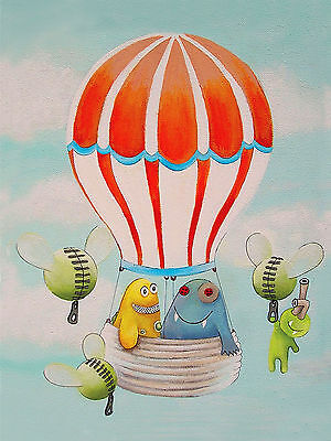 Kids Nursery Decor Wall Poster Print Hot Air Balloon Monster Art Print 8x10""