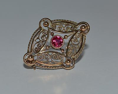 Vintage 9ct yellow gold ruby bar brooch